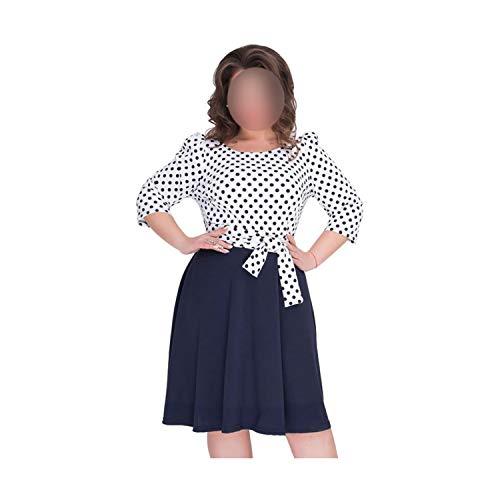 Floral Print Women's Dresses Large Size Summer Patchwork Lady's Dress Vintage Elegant Dress,02,XXXL