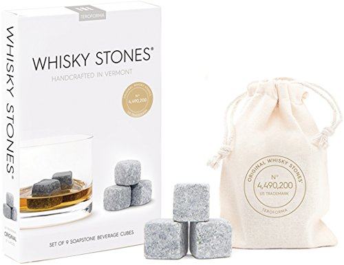 """Teroforma CLASSIC Whisky Stones - Handcrafted Soapstone Beverage Chilling Cubes, Set of 9 (Natural, 0.88"""")"""