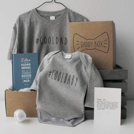 Caja regalo papá y bebé - Daddy Box - Regalo original para padres - Incluye body bebé 3-6 manga larga 100% algodón y camiseta papá a juego - Regalo día del padre y padres primerizos (S)