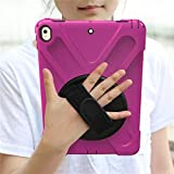 HHF Pad Accesorios para iPad Pro 9.7, New 360 Armor Kids Cover 360 Rotation Hand Strap Silicon Cover PVC para iPad Pro 9.7 A1673 A1674 (Color : Rose)