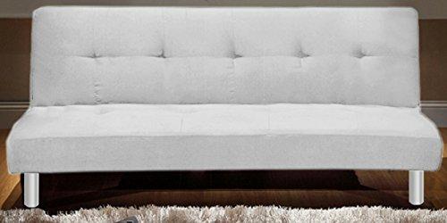 Frizzo Divano Letto 180X80cm Tessuto 3 POSTI RECLINABILE Bianco Design Moderno CASA Ufficio MOD.ISA