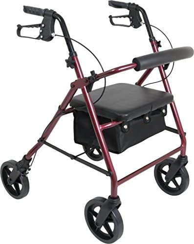ProBasics 4 Wheel Medical Rolling Walker with Wheels Seat Backrest and Storage Pouch Rollator product image