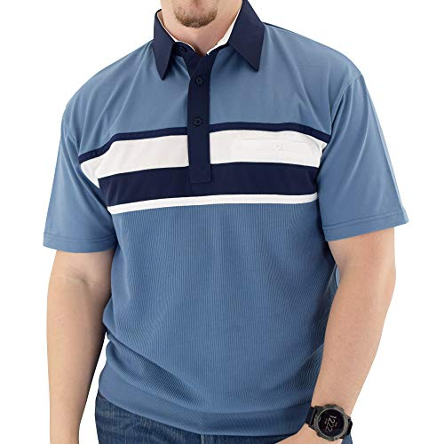 Classics by Palmland Horizontal Short Sleeve Banded Bottom Shirt 6010-BL12 (L, Marine)