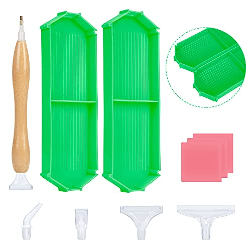 11 Pieces 5D Diamond Painting Accessories and Tools Kits with Combined Tray and Wooden Ergonomics Pen, Diamond Art Accessories Tools Kits for Adults Kids