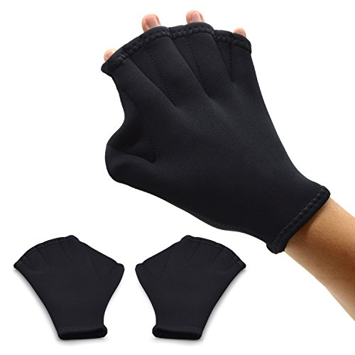 Webbed Gloves/Swim Gloves,Freehawk Neoprene Aqua Fit Swim Training Gloves Swim Gloves Aquatic Fitness Water Resistance Training Force Gloves Paddle for Swimming Diving Surfing Water Sports (Black)