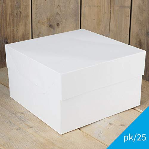 FunCakes- 25 x Cajas Blancas para Transportar Tartas (35X35X15CM)