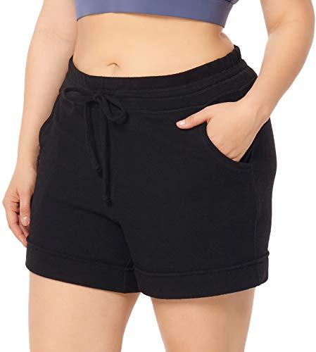 "ZERDOCEAN Women's Plus Size 5"" Casual Lounge Yoga Sports Shorts Pajama Walking Athletic Shorts Activewear with Pockets Black 3X"