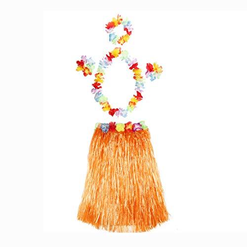 thematys Juego de Disfraces de Hawai en 8 Colores Diferentes - Falda de 4 Piezas, Corona Floral para la Cabeza, Cuello y muñecas - para Adultos (Style 4)