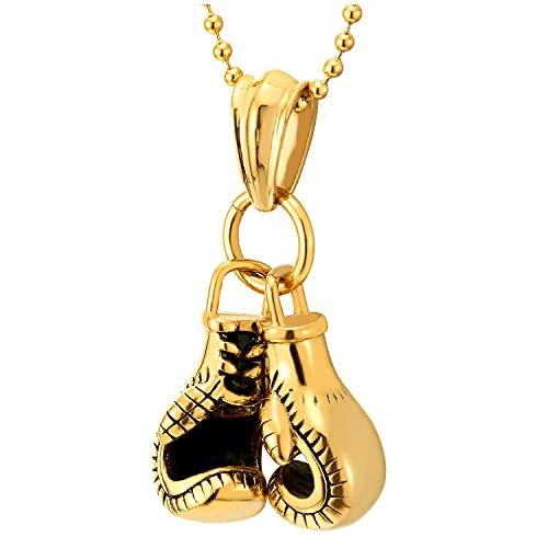 COOLSTEELANDBEYOND Color Oro Un Par Guante de Boxeo Collar con Colgante de Hombre, Acero, Bola Cadena 60CM