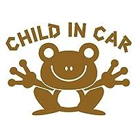imoninn CHILD in car ステッカー 【シンプル版】 No.22 カエルさん (ゴールドメタリック)