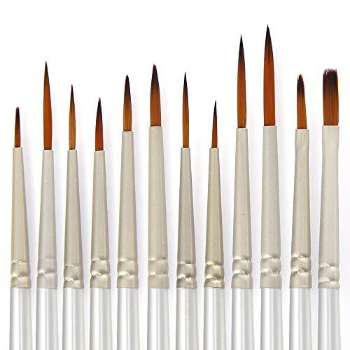 DILISEN 12 Pièces Artiste Détail Brosses de Peinture en Set Art Matériel de Peinture avec la Palette de Peinture, Blanc
