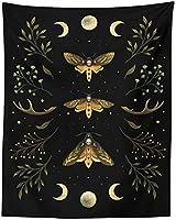 タペストリーヴィンテージムーンフェイズウォールハンギングタペストリーグリーンオリーブリーフブラックタペストリーボヘミアンルームアーティストホームデコレーション7086 x90 55インチ(180x230 Cm)