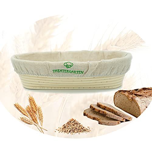 Gärkörbchen für Pizza-, Plätzchen-, Brot-Teig ideal zum Backen | Teig Backen Zubehör | Gärkorb Set aus Peddigrohr (100% Rattan) + Leinentuch - Oval 30 cm