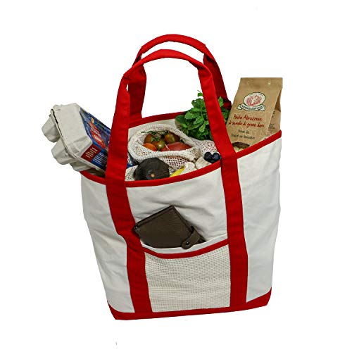 Simple Ecology Reusable Organic Cotton Super Strength XL Grocery Bag - Red (Shopping Bags, Heavy Duty, Washable, Foldable, Pockets, Handbag, Strong Handles, Strong Magnetic Closure)