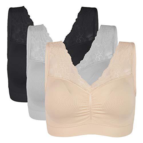 Vertvie Womens Strech Ohne Buegel Push up Yoga Sports BH Bra Top Set Fuer Fitnesstraining Polsterung 3er Pack(Schwarz/Haut/Grau,XL)