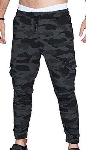 Herren Sommer Lange Cargo Hose Rein Bauwolle Freizeit Hose Saug Kleidung Atmungsaktive Slim Beam Mund Sporthose Freizeithosen Sweatpants Stoffhose (Color : Dunkelgrau, Size : L)