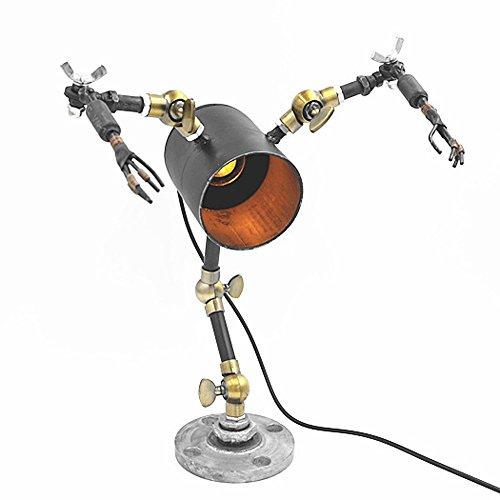 Pointhx Lampada da tavolo in metallo di alta qualità con braccio oscillante in ferro meccanico regolabile Lampada da tavolo Nostalgia retrò da bar caffetteria luminosa Dimmerabile Edison