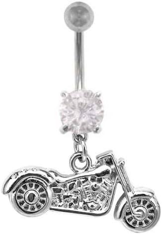 Cz Clear Motorcycle Biker Dangle Belly Navel Ring Piercing bar Body Jewelry