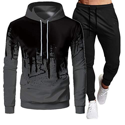 Chándal de los hombres con capucha traje de letra de impresión sudadera pantalones otoño casual deportes conjuntos empalme ropa