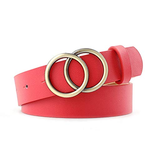Dubbele Ring Vrouwen Riem Taille Riem PU Lederen Metalen Gesp Hartspeld Riemen Wild Tailleband-Style5Red-OneSize