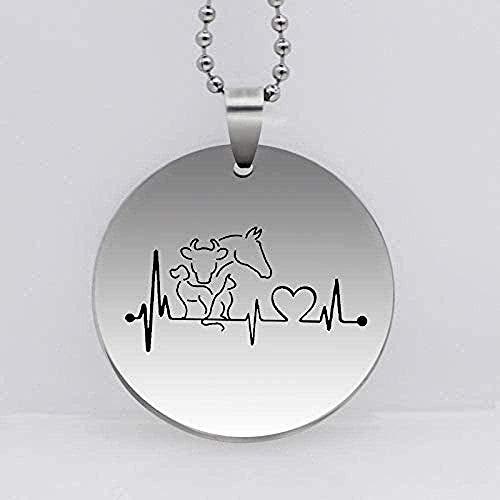 Collar de Acero Inoxidable de Moda, Collar con Colgante de Animal Divertido, Perro, Gato, Caballo, Vaca, Collar con Latido del corazón