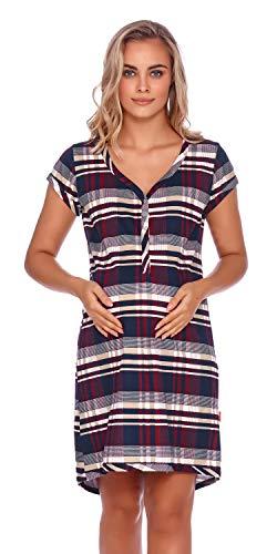 Doctor Nap - Camisón de maternidad para mujer, para hospital, para embarazo y maternidad cuadros L