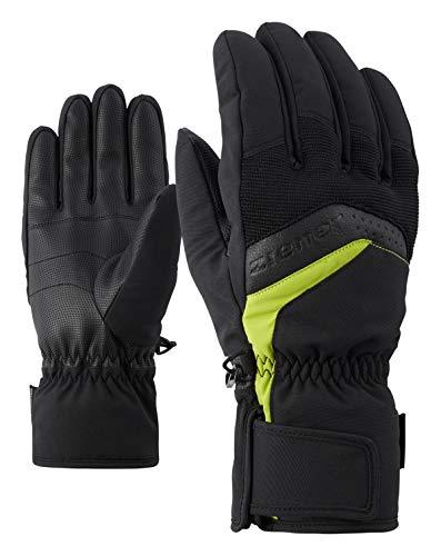 Ziener Herren GABINO glove ski alpine Ski-handschuhe, black/lime green, 8