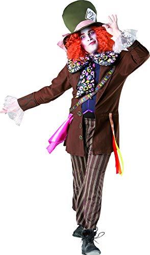 costumebakery - Herren Frauen opulentes Hutmacher Mad Hatter Kostüm im Alice im Wunderland Stil incl Perücke und Hut, perfekt für Karneval, Fasching und Fastnacht, XL, Braun