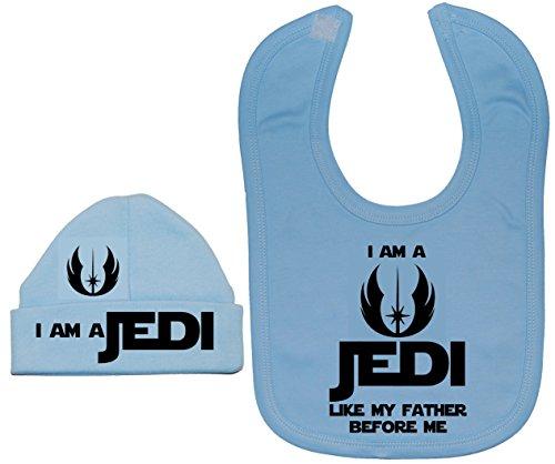 Je suis un Jedi comme Mon Père avant Me Baby Bavoir et bonnet/Casquette 0 à 12 mois - Bleu - XXXS