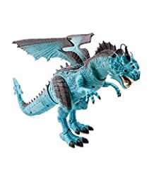 Delightfully Scary Dragon: Steam Breathing Dragon screeches, stomps, and snorts steam Lights Up for Extra Excitement: Lights up for an extra scary effect Flapping Fun: Wings move as he gets ready to take off on an adventure Easy to Use: Easy on and o...