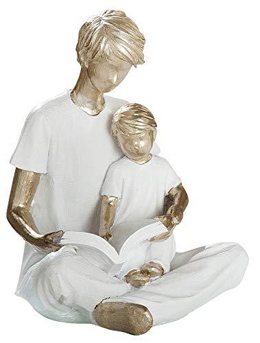 dekojohnson - Modern sculptuur decoratief figuur vader met kind zomer champagne/wit 14 cm hoog - Design Statuen Huis & Tafel