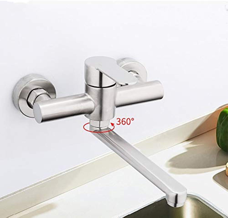 Y40086 Wasserhahn für die Wandmontage, drehbar, für Gemüse, Wasserhahn, für warmes und kaltes Wasser, Mischbatterie