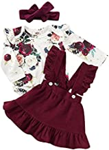 Mouyeon Toddler Baby Girl Sister Matching Outfits Long Sleeve Floral Romper+Velvet Ruffle Suspender Skirt+Headband 3PCS Clothes Set, Ared, 6 - 12 Months