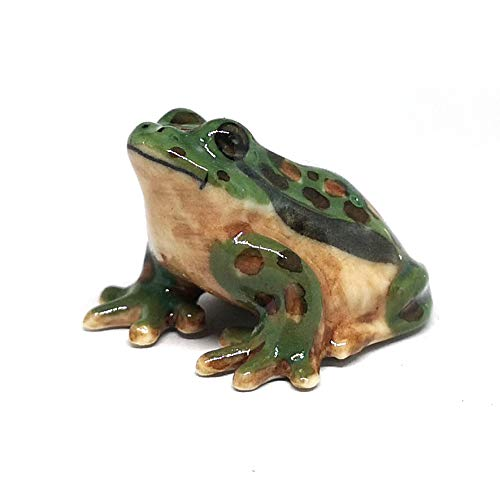 ZOOCRAFT Miniatures Ceramic Green Frog Figurine Craft Gift Collectible Home Decor