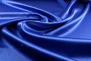 "mds Pack of 10 Yard Charmeuse Bridal Solid Satin Fabric for Wedding Dress Fashion Crafts Costumes Decorations Silky Satin 44"" Royal Blue"