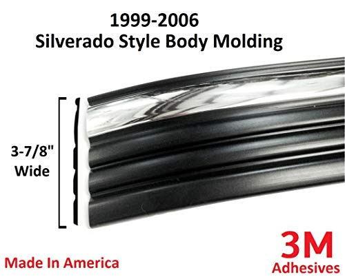 Autmotive Authority Black Chrome Side Body Trim Molding for 1999-2006 Chevy Silverado - 3-7/8' Wide (Half Roll - 10 ft)