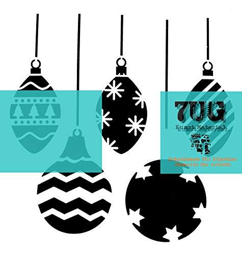 7UG Schablone 5 Weihnachtskugeln, Baumschmuck, 13x13 cm f. Mixed Media Techniken