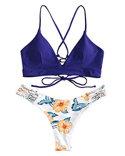 ZAFUL Women Lace up Braided Strap Bikini Set Padded V Neck High Leg Two Piece Swimsuit (Blue, L)