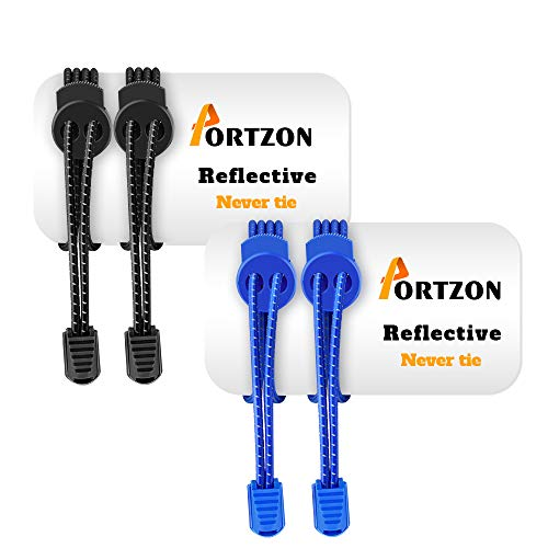 Portzon No Tie Shoelaces, Lock Shoe Laces, Elastic Reflective Shoe Laces for Kids and Adults, Lock Tie Running Shoe Laces for Sneakers, Boots Board Shoes and Casual Shoes, Black & Blue, 2 Pair