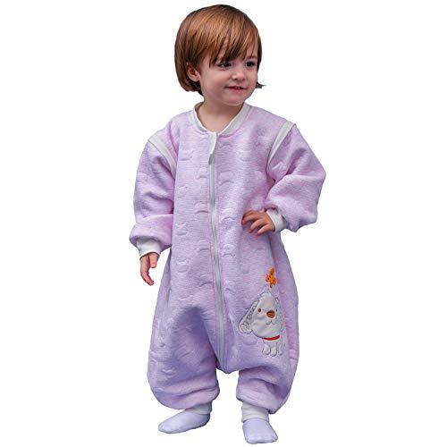 Schläfsack baby langarm winter kinderSchlafsack,Hund Muster Baby Schlafsack mit Füßen Baumwolle Junge Mädchen unisex ganzjahres Schlafanzug. (M:90cm 1-3Jahre,Rosa)