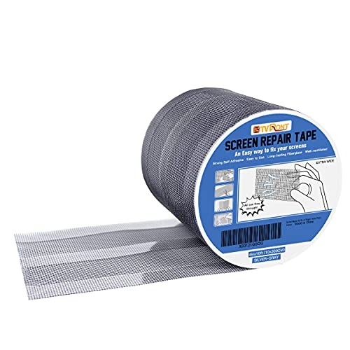 Window Screen Repair Kit Tape - Super Wide(4inX10FT) Screen Patch Repair Kit, Breathable, Strong Adhesive Fiberglass Covering Mesh Tape for Window Door Tears Holes (Silver-Gray)