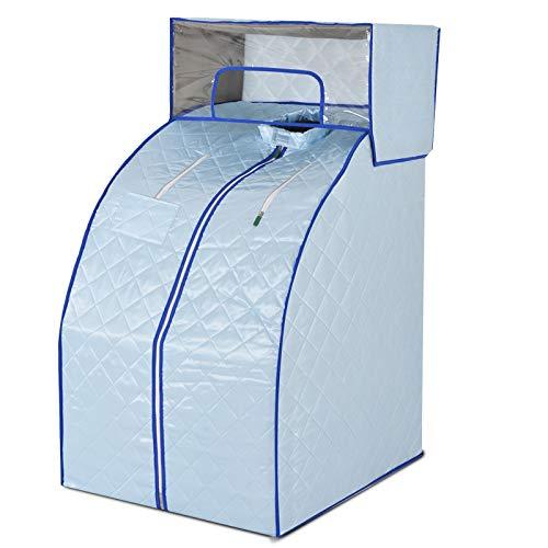 HYQW Portables Heim-Dampfbad Und Sauna Box Indoor Folding Dampfkabine Personal Spa Trockene Saunaheizung Falten Sie Die Freie Installation,Economicalsilverwithouthood