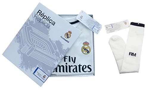 Conjunto Complet Infantil Real Madrid Réplica Oficial Licenciado de la Primera Equipación Temporada 2018-19 Sin Dorsal (14 años)