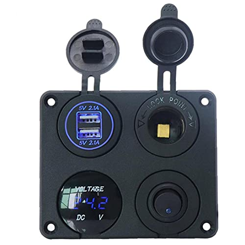 ODOUKEY Interruptor J2 Cargador de Coche Panel Interruptor de la Toma del voltímetro de Palanca basculante 4-en-1 USB Doble para Trailer RV, Barco del Carro Marina
