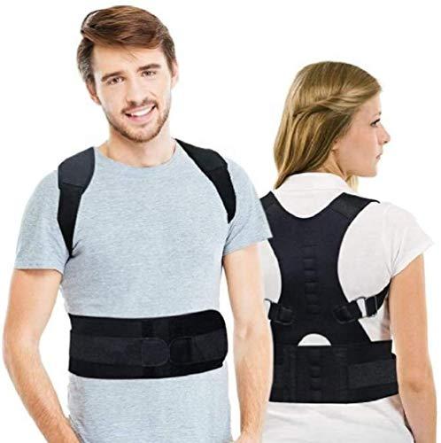 Ducomi Extreme Haltungskorrektor mit Aktiven MAGNETEN, Rückenstütze mit Lordosenstütze für Männer und Frauen, Verstellbarem Halsband und Schulterbüste, Korsett 12 Magnete 800 Gauß (Schwarz, XXL)