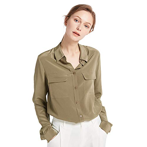 LilySilk Chemise Femme Chic Soie Naturelle Chemisier Classique Top à Manches Longues Casual Shirt Blouse Chic Été 18 Momme S Kaki