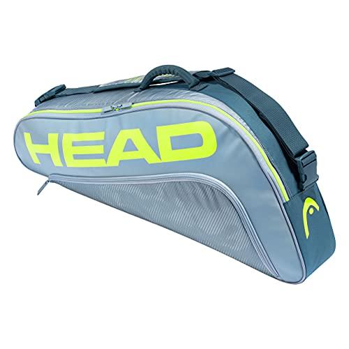 HEAD Tour Team Extreme 3R Pro Racquet 3 Racket Tennis Equipment Duffle Bag  Grey/Yellow