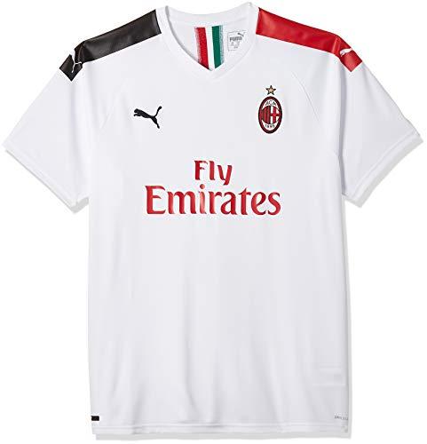 PUMA ACM Away Shirt Replica SS with Sponsor Logo Maillot, Hombre, Puma White-Tango Red, XXL
