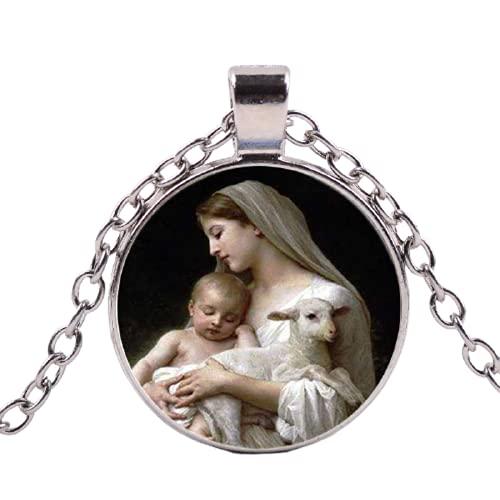 Collar retro de la Virgen María Jesús para madre del bebé retrato de cristal cabujón color plata cadena larga colgante católica
