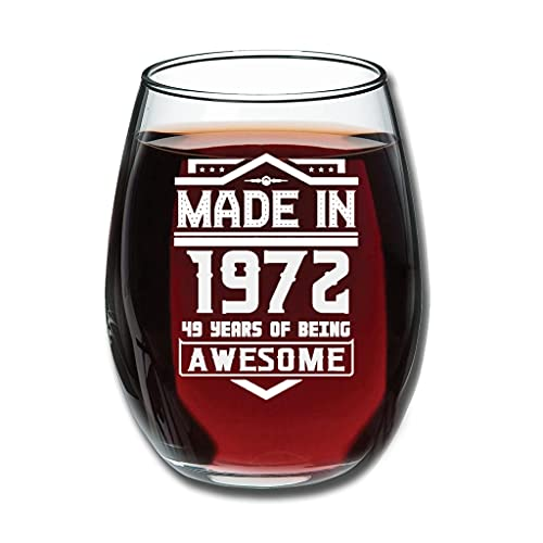 Lind88 Good-Handheld Made In 1972 - Copas de vino tinto grabadas (350 ml), color blanco